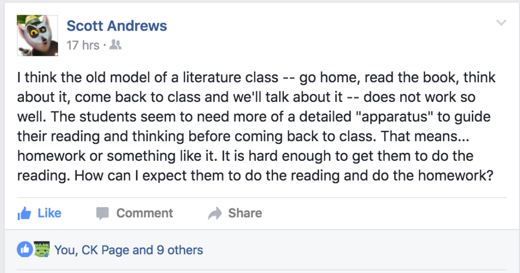 Literature discussion on Facebook
