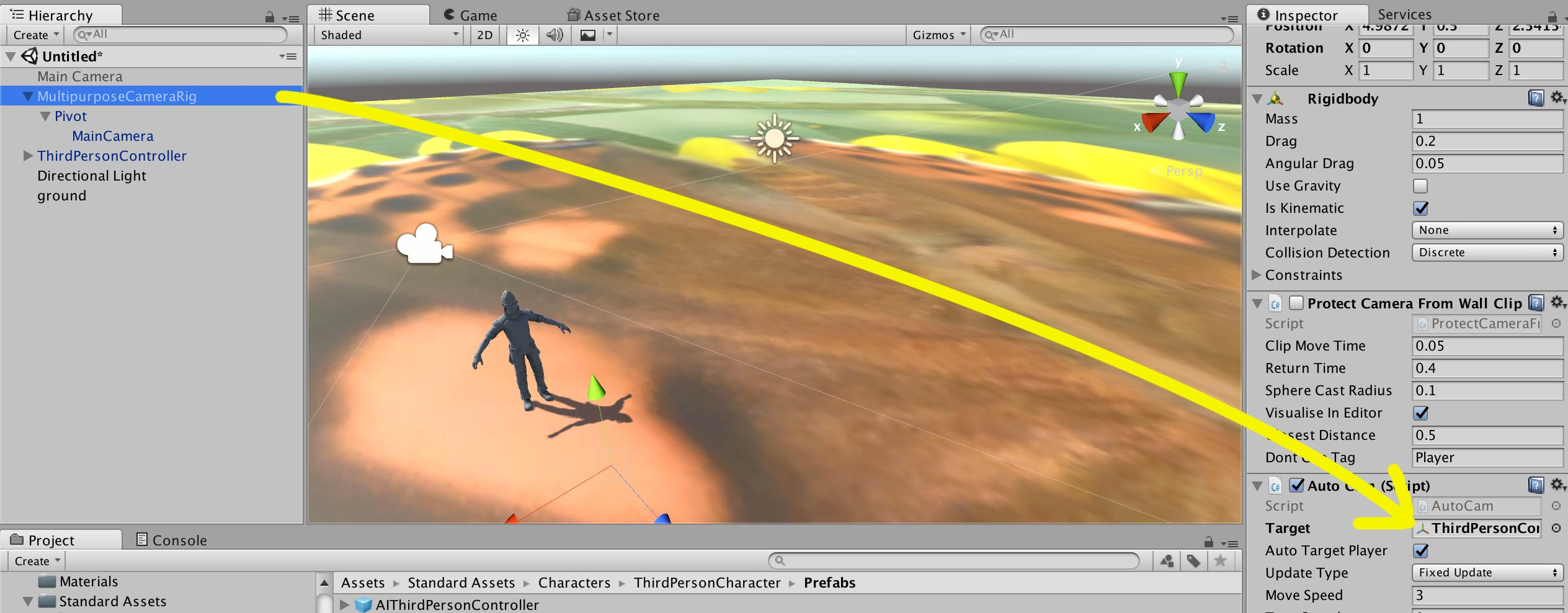 Character Following Camera in Unity3D | TechIntersect
