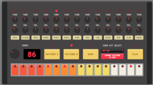 drum machine controls, knobs and dials