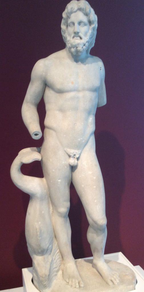 white marble nude statue of Poseiden