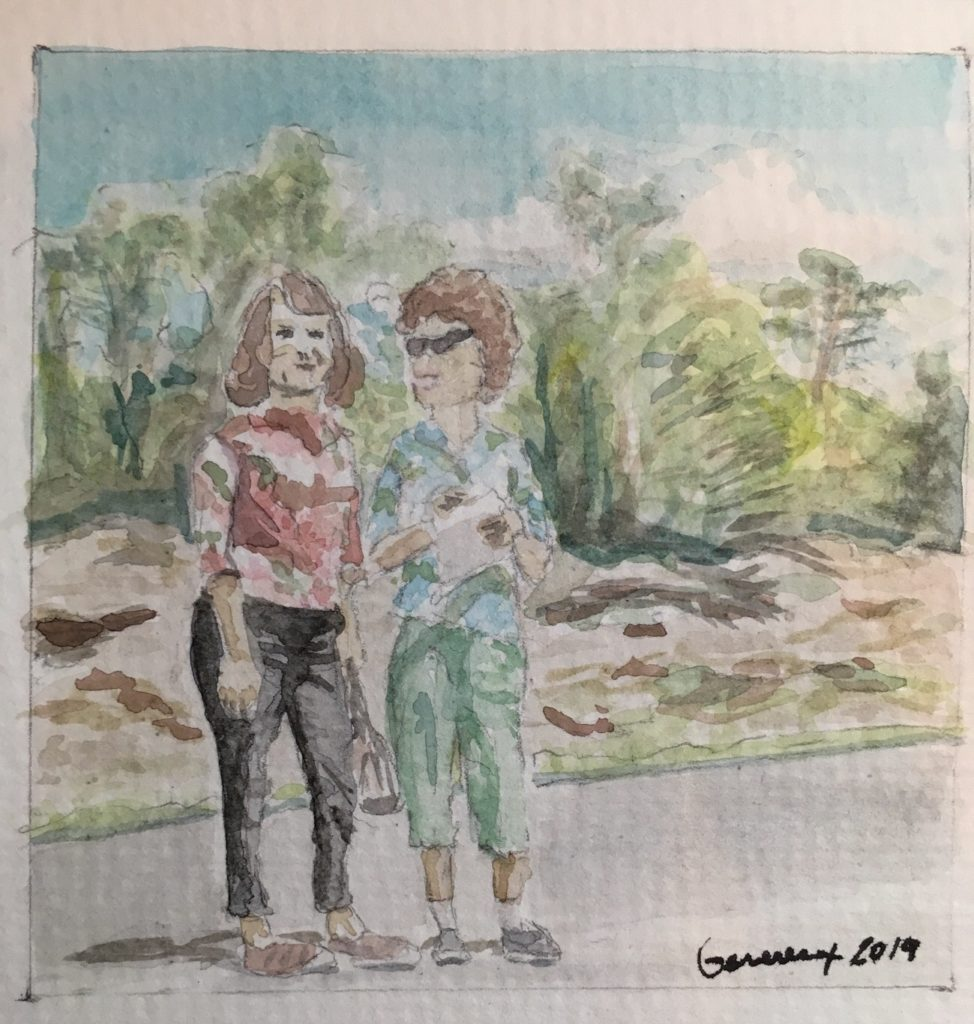 Watercolor painting of two women standing in the road in front of trees