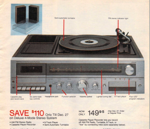 1980s stereo system with turntable, cassette tape and 8-track.
